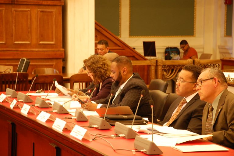 Members of the City Council Criminal Justice Reform Committee listen to testimony Monday. (Tom MacDonald/WHYY)