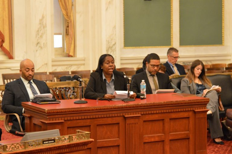 Philadelphia city and school district officials testify at a hearing Monday on how to get more students interested in continuing technical education. (Tom MacDonald/ WHYY)