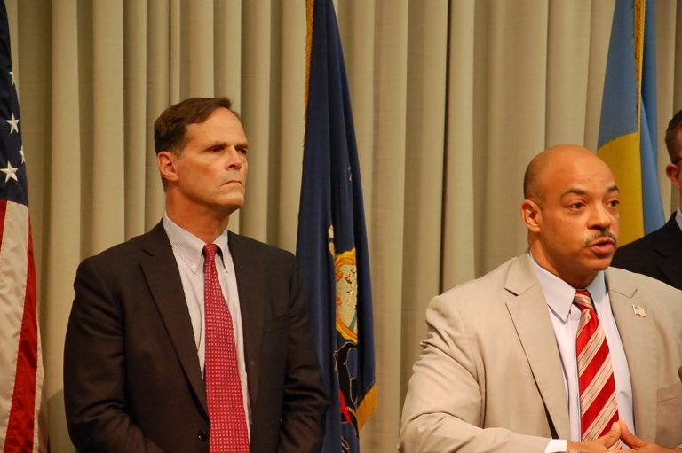 David Thornburgh (left) of the Committee of 70 and Philadelphia District Attorney Seth Williams talk about Election Day measures. (Tom MacDonald/WHYY)