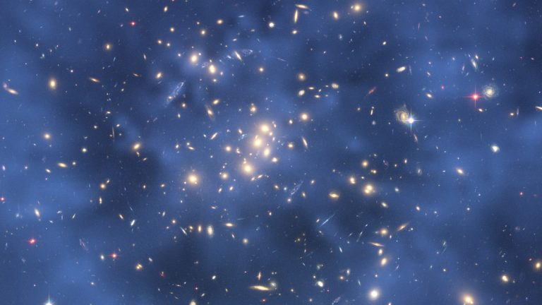 This file photo shows a ring of what NASA says is dark matter, which measures 2.6 million light-years across, located 5 billion light-years from Earth.  (AP Photo/NASA-ESA file)