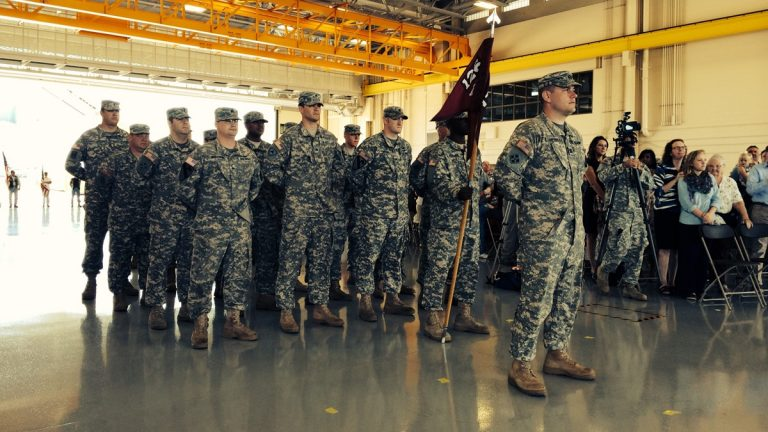 Delaware National Guard Detachment 1, F Company, 1-126th Aviation soldiers deploying to Kuwait (Shirley Min/WHYY)