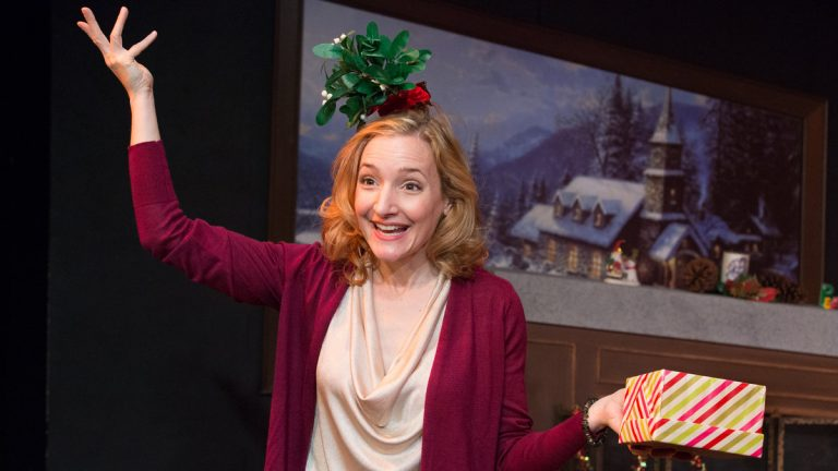 Maggie Lakis in 'The Twelve Dates of Christmas' at Act II Playhouse in Ambler. (Photo courtesy of Mark Garvin)