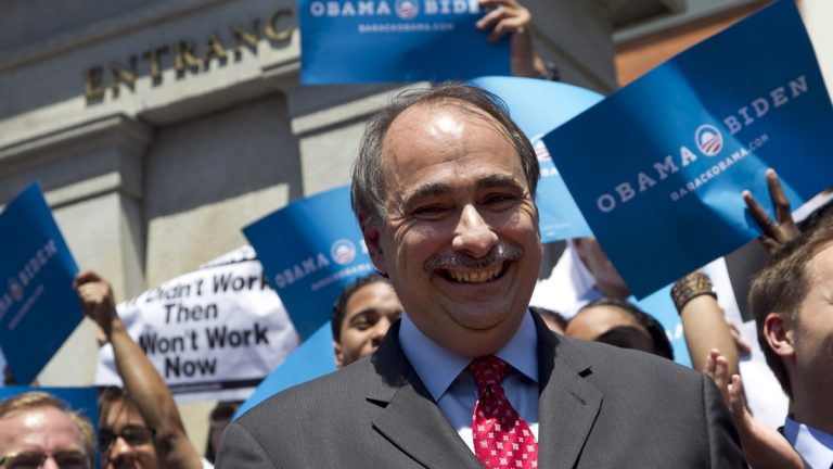 David Axelrod is shown on the campaign trail for Barack Obama in 2012. (AP Photo/Steven Senne)
