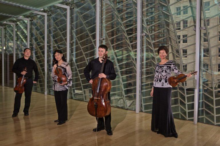 The Festival Quartet: L to R, Burchard Tang (Viola), Hirono Oka (Violin), Clancy Newman (Cello), Barbara Govatos (Violin)(photo courtesy of Delaware Chamber Music Festival)