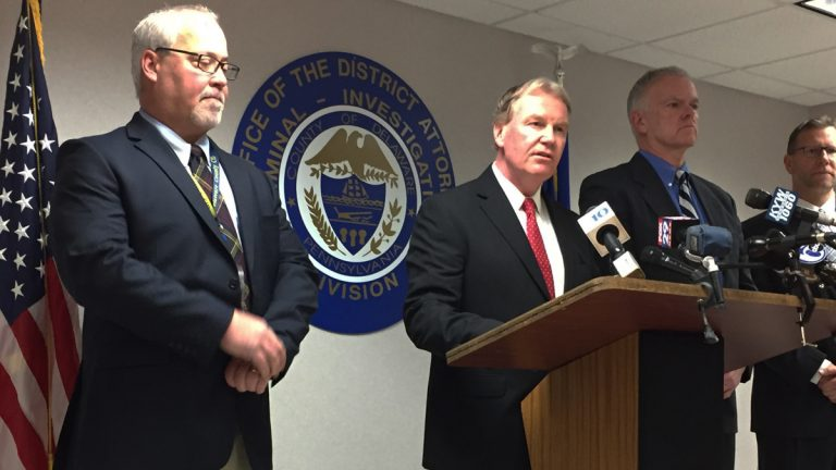 Delaware County District Attorney Jack Whelan announces the arrest of Upland Borough Councilman Edward Mitchell in a theft scheme that cost the borough nearly $1 million. (Dana DiFilippo/WHYY)