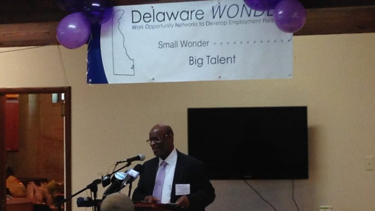 Rev. Terrence Keeling discusses the Delaware WONDER program at his church, Central Baptist in Wilmington. (Mark Eichmann/WHYY)