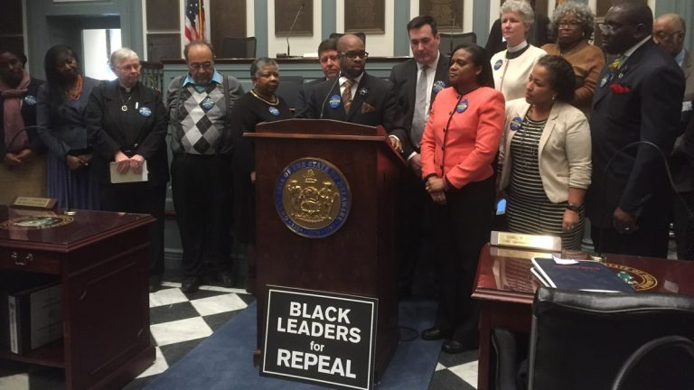 Rev. Donald Morton, executive director of the Complexities of Color Coalition, and others, expressed their support of the death penalty repeal during a press conference in Dover on Wednesday.  (Zoe Read/WHYY)
