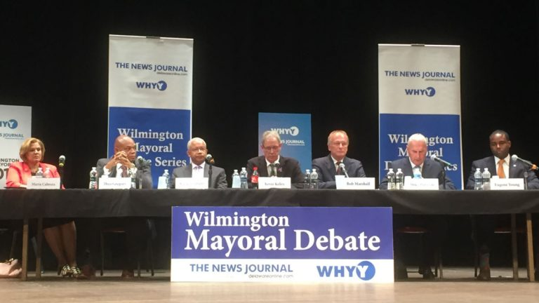 Seven of the eight Democrats running for Wilmington mayor debated public safety issues Thursday night. Those candidates include (from left) Maria Cabrera