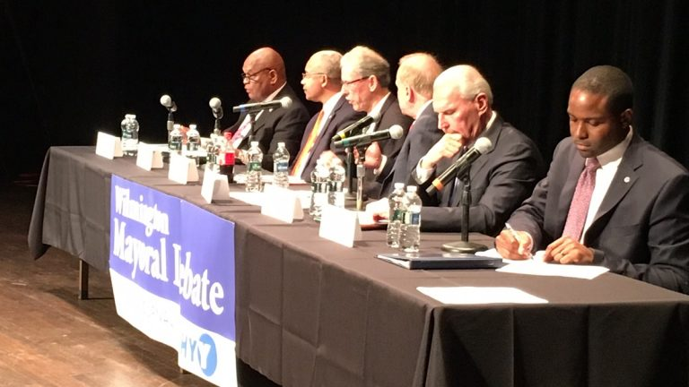 Six of seven Democrats running for mayor of Wilmington debated Tuesday night. Incumbent Mayor Dennis Williams did not attend. (Mark Eichmann/WHYY)