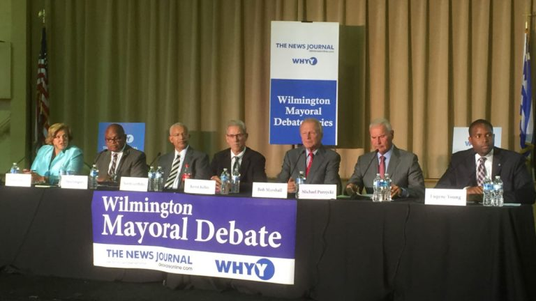 A packed crowd watched seven of eight Democrats running for mayor debate the issues at Wilmington's Holy Trinity Greek Orthodox Church Tuesday night. (Zoë Read/WHYY)