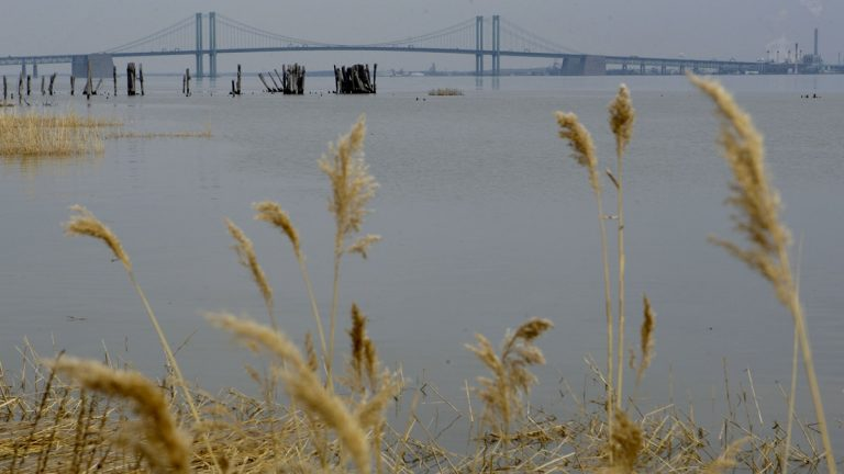 The Delaware River with the Delaware Memorial Bridge in the background seen from the banks of New Castle. (AP Photo/Matt Rourke)