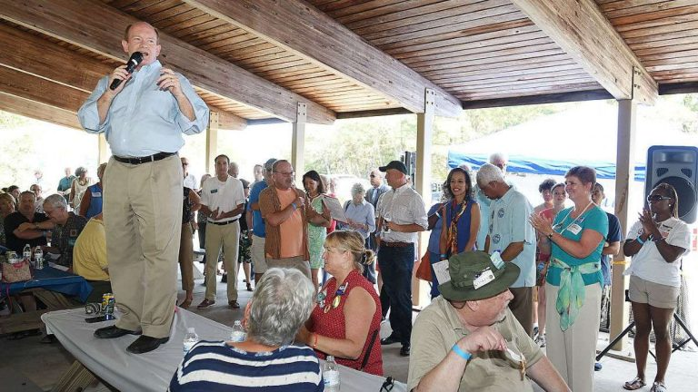 Speaking Sunday at an annual Democratic rally in southern Delaware
