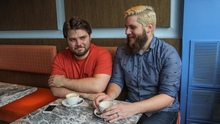 John McKeever and Tim Butterly star in the new web series about Delaware County, 'Delco Proper.' (Kimberly Paynter/WHYY)