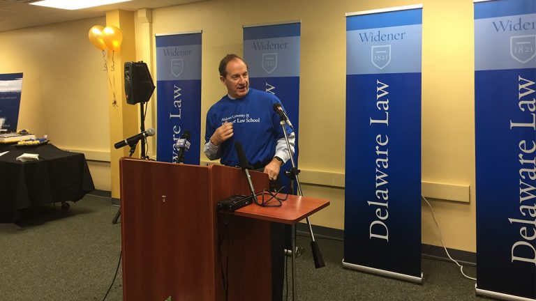 Incoming Dean Rod Smolla kicked off the debut of the Delaware Law School in Wilmington Wednesday. (Zoë Read/WHYY)