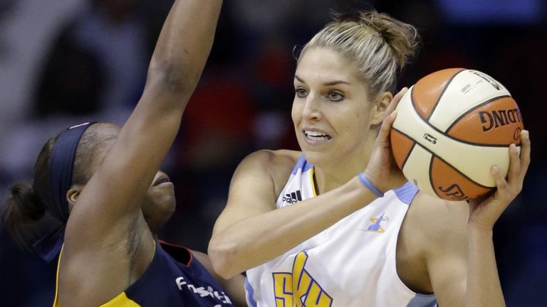 Chicago Sky forward Elena Delle Donne, right, looks to pass as Indiana Fever forward Karima Christmas guards during the first half in Game 1 of the WNBA basketball Eastern Conference semifinal series. (AP Photo/Nam Y. Huh)