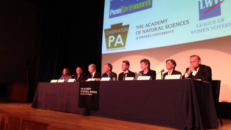 Eight Democratic Pa. gubernatorial candidates are shown at a debate focused on environmental sustainability held at the Academy of Natural Sciences of Drexel University in Philadelphia. They disagreed on little but tried to distinguish themselves based on electability and personal style. (Holly Otterbein/WHYY)
