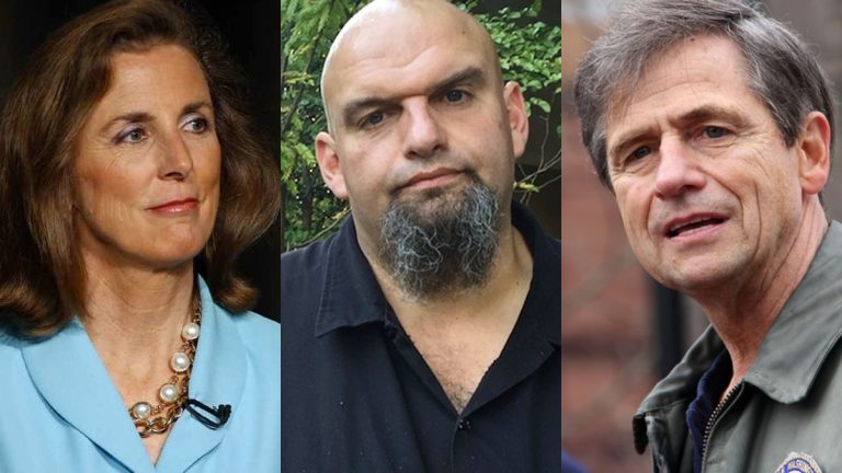 Democratic candidates for U.S. Senate (from left) Katie McGinty, John Fetterman and Joe Sestak. (File photos)