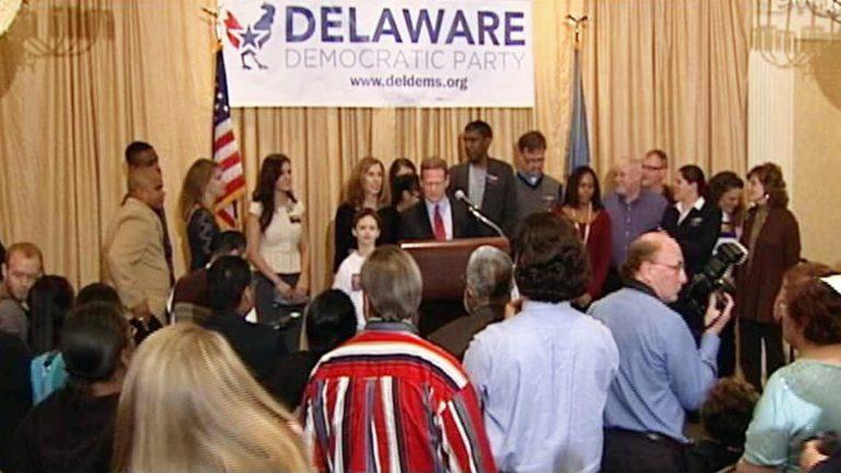 Lt. Gov. Matt Denn delivering victory speech. Denn won the AG's race against GOP candidate Ted Kittila (Gene Ashley/WHYY)