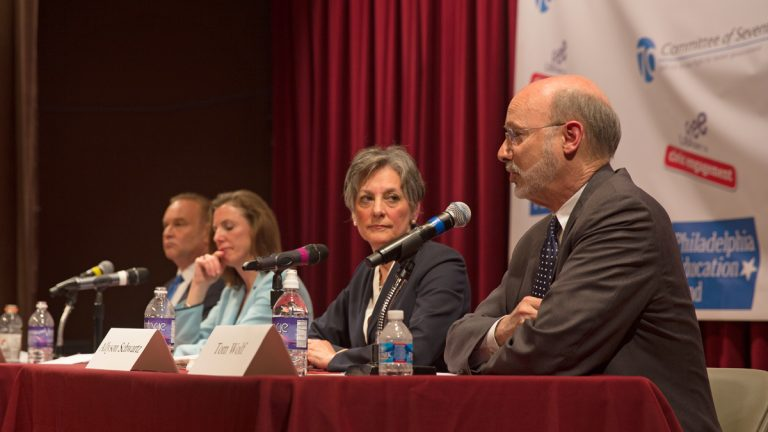 From left to right Rob McCord, Katie McGinty, Allyson Schwartz, and Tom Wolf, Democratic candidates for Pennsylvania governor agreed that local control of schools should return to a Philadelphia board.  (Lindsay Lazarski/WHYY)