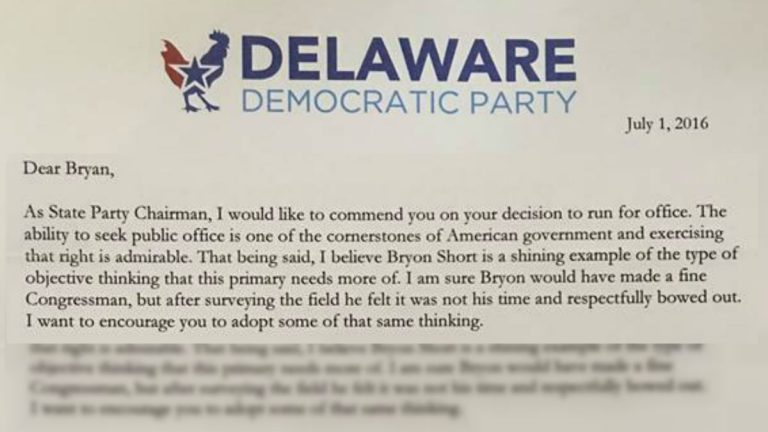 Delaware Democratic Party chairman John Daniello sent this letter to candidates