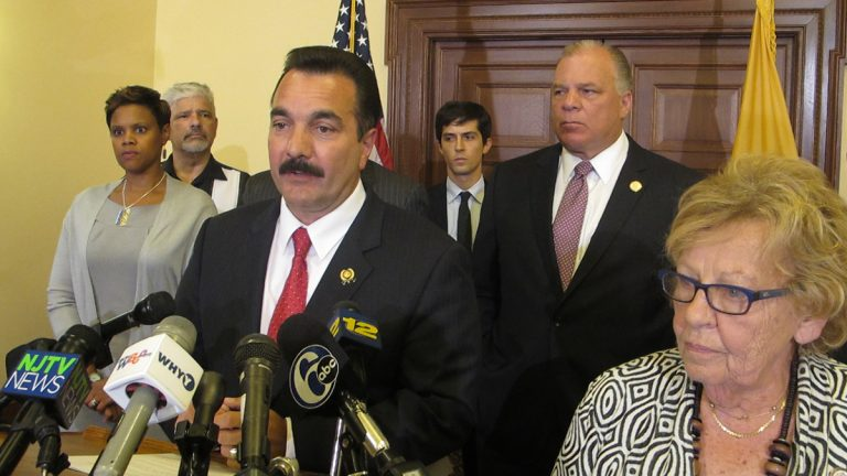 New Jersey Democratic legislators outline the Democracy Act proposal intended to encourage more residents to vote. It would allow registering and voting on the same day amid other changes. (Phil Gregory/WHYY)