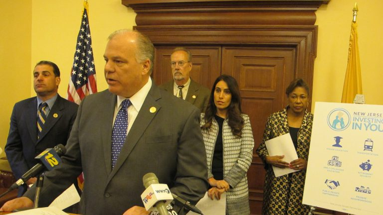 New Jersey Senate President Steve Sweeney and other Democrats outline their plan to focus on better investment to jump-start the state's economy. (Phil Gregory/WHYY)
