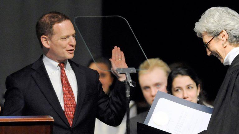 Lt. Gov. Denn takes the oath of office in January 2013. (AP Photo/Steve Ruark)