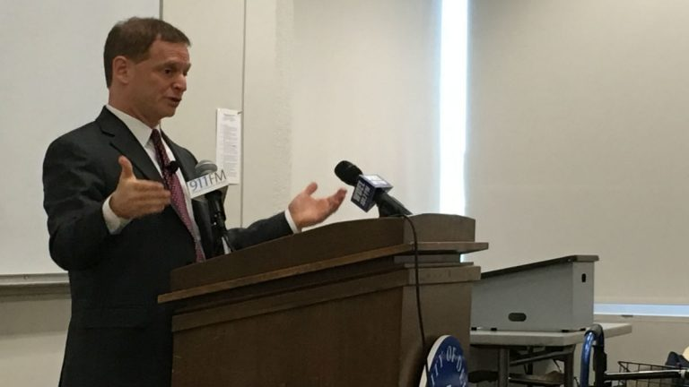 Delaware Attorney General Matt Denn talks Monday about his legislative priorities during a speech at the University of Delaware's Osher Institute of Lifelong Learning in Wilmington. (Mark Eichmann/WHYY)