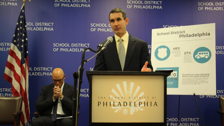 Pennsylvania Auditor General Eugene DePasquale gives his report on Philadelphia schools during a press conference at the school administration building. (Emma Lee/WHYY)