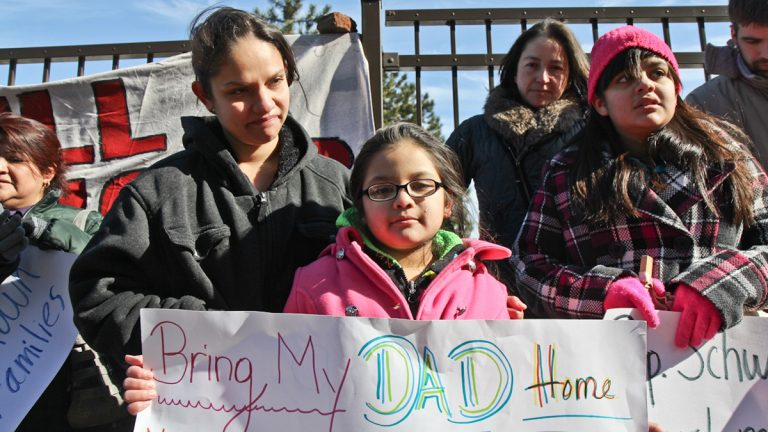 Pilar Molina and Caitlin Resindez are the wife and daughter of Isreal Resendiz-Hernandez, a Norristown shop owner who was detained for deportation on Jan. 27. (Kimberly Paynter/WHYY)
