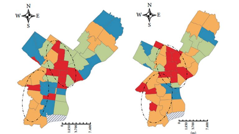 These maps show the change in diabetes rates among Philadelphians from 2002-2004 and 2008-2010. The full map, with key can be seen below. (Image via the Multilevel and Urban Health Modeling of Risk Factors for Diabetes Mellitus)
