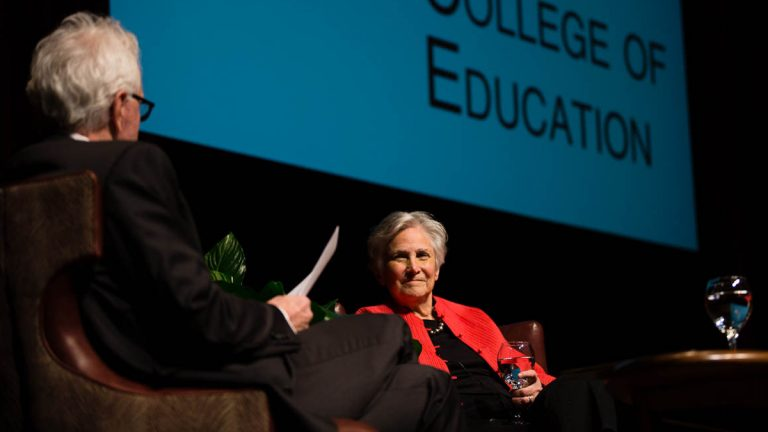 Education activist Diane Ravitch is shown speaking on Feb. 10, 2015, at Baker Hall, Zoellner Arts Center, Lehigh University. (Christ Neu/Lehigh University)