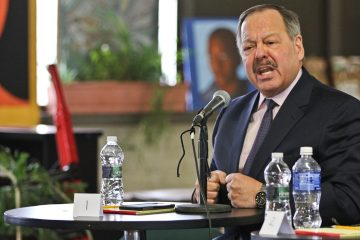 Shown here at a mayoral forum in Parkside, candidate Nelson Diaz cited the state of education in the city as a driving force to enter the race. (Kimberly Paynter/WHYY)