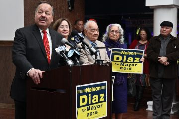 Nelson Diaz launched his Philadelphia mayoral campaign on Thursday. (Kimberly Paynter/WHYY)