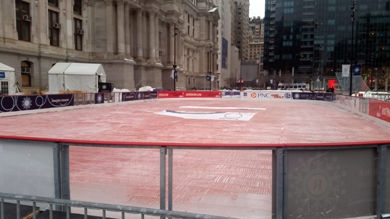 The Rothman Ice Rink at Dilworth Park in Philadelphia is shown being disassembled. (Tom MacDonald/WHYY)