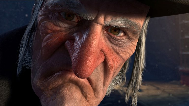 In this film publicity image released by Disney, Ebenezer Scrooge, voiced by Jim Carrey, is shown in a scene from