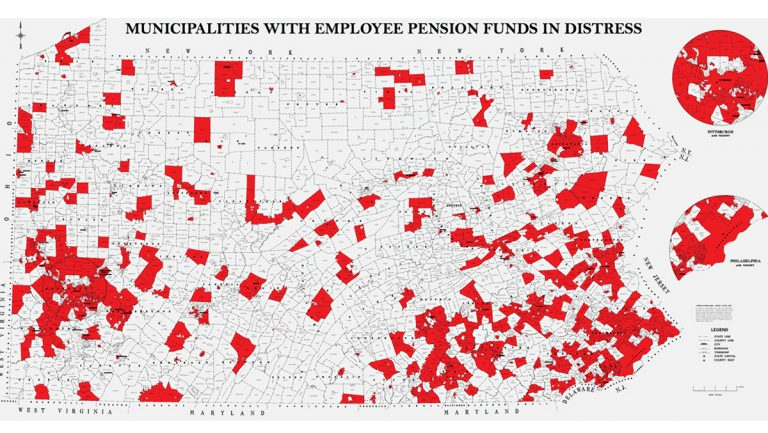Map of Pa.'s municipal pension funds in distress from the Pennsylvania Auditor General's office.