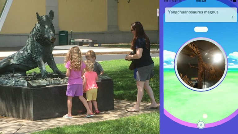 Kids search for Pokemon GO characters outside the Delaware Museum of Natural History in Wilmington. (Phil Casey/for NewsWorks)