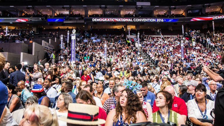 Delegates to the National Democratic Convention settle in for night one. (Kimberly Paynter/WHYY)