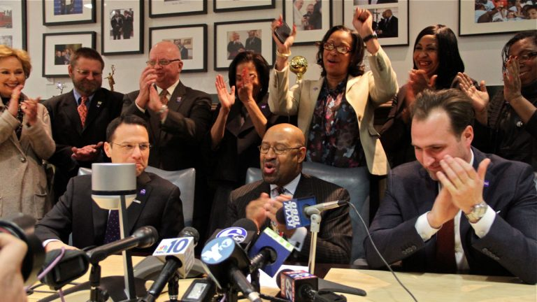 Mayor Michael Nutter is surrounding by celebration following the announcement that Philadelphia has been selected to host the Democratic National Convention next year. (Emma Lee/WHYY)