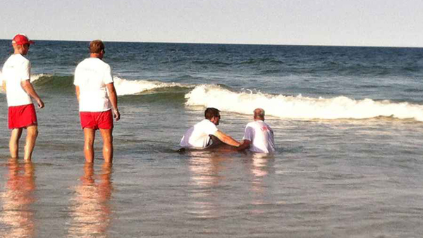 Lifeguards assisting a sick dolphin at Island Beach State Park late Sunday afternoon. (Photo: Sandy Bartkiewicz Rea via Facebook)