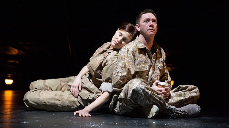 Kate Czajkowski and Keith J. Conallen in the world premiere of Paula Vogel's 'Don Juan Comes Home from Iraq' at Wilma Theater (Photo courtesy of Alexander Iziliaev)