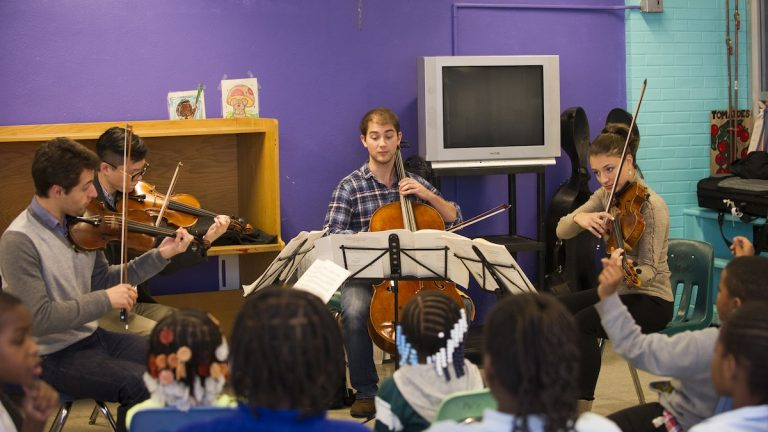 The Dover Quartet played for children at Stenton Family Manor on Monday. (Courtesy of John Barone for WWCP)