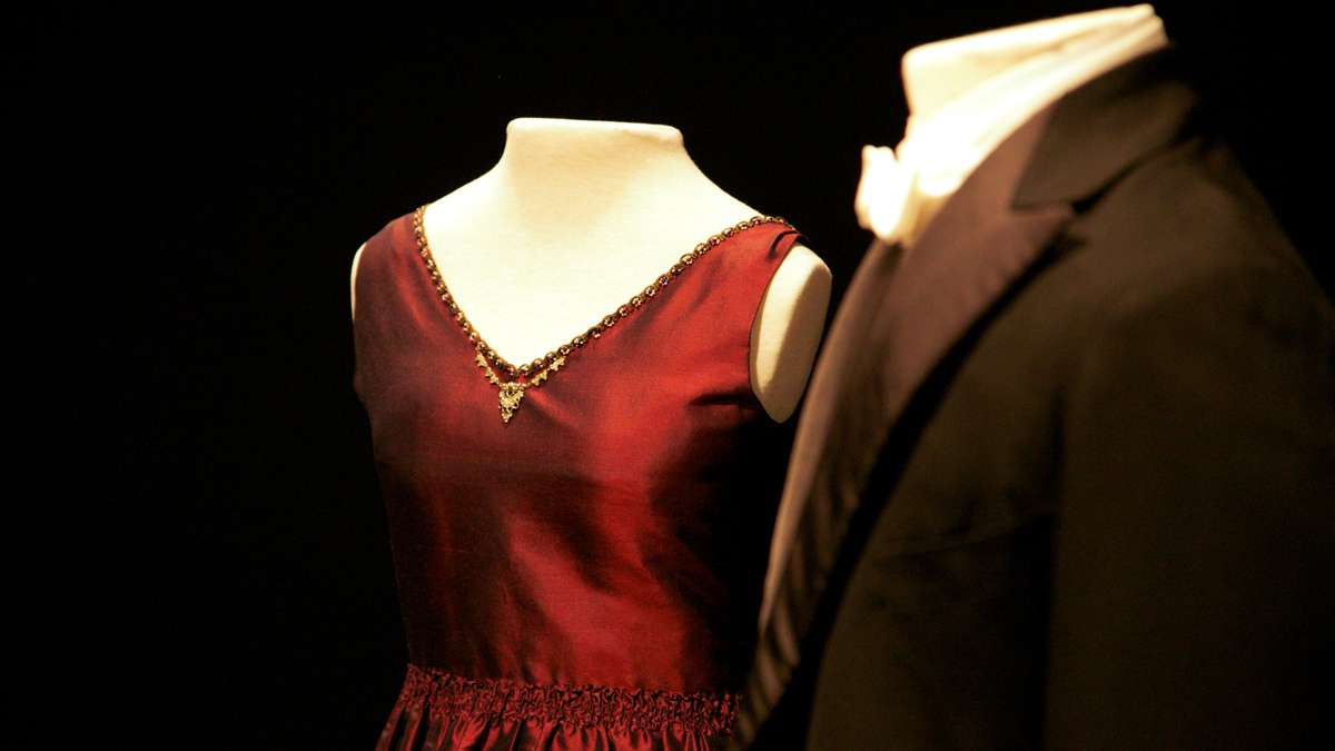 Lady Mary Crawley's evening dress and Matthew Crowley's white tie and tails worn during Mathew's proposal to Lady Mary during Season Two (1916-1919) (Nathaniel Hamilton/for NewsWorks)