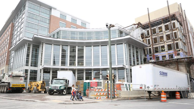 The new home of the Lehigh Valley Phantoms under construction in downtown Allentown, Pa. (Lindsay Lazarski/WHYY)