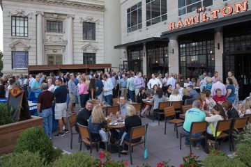 Bustling restaurants and businesses on opening night of the PPL Center in downtown Allentown, Sept. 12, 2014. (Lindsay Lazarski/WHYY)