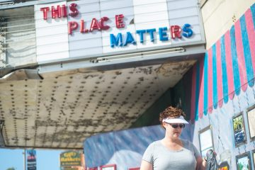 'This Place Matters' on the marquee of the shuttered Hanover State Theatre.  (Image courtesy of The Evening Sun)