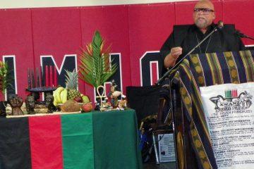 Dr. Maulana Karenga at last year's Kwanzaa celebration at Imhotep Charter School. (Courtesy of Robert Dickerson)