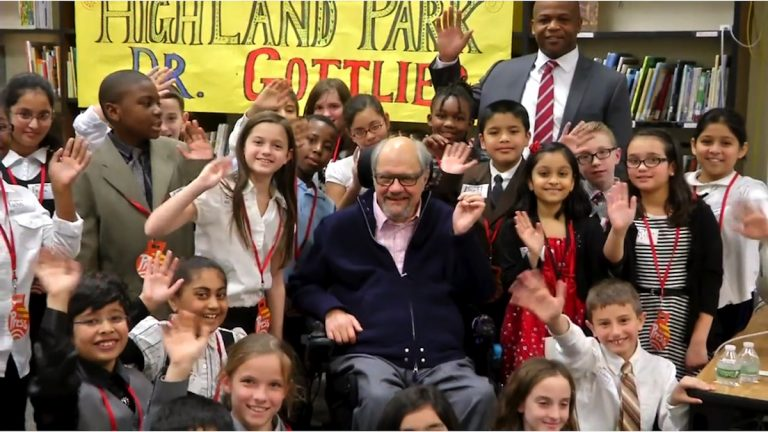 Dr. Dan Gottlieb and students of Highland Park Elementary.  (Courtesy of Upper Darby  School District/Vimeo)