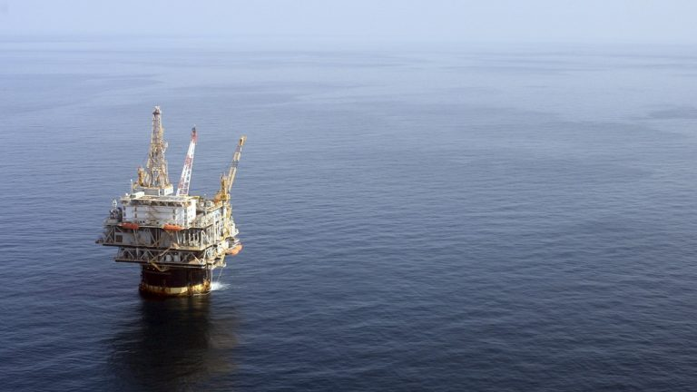 In this file photo taken Aug. 19, 2008, the Chevron Genesis Oil Rig Platform is seen in the Gulf of Mexico near New Orleans, La. (Mary Altaffer/AP Photo, file)